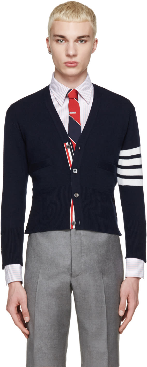 Thom Browne Navy Cashmere Striped Armband Cardigan