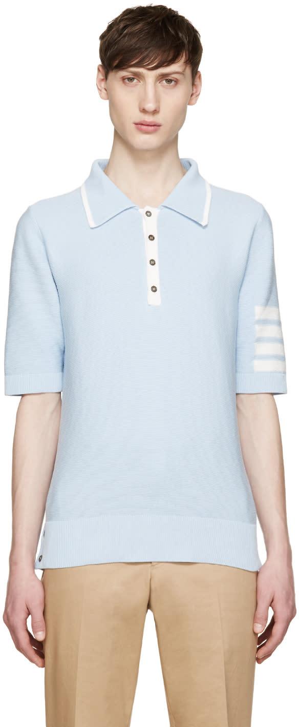 Thom Browne Blue Knit Striped Armband Polo