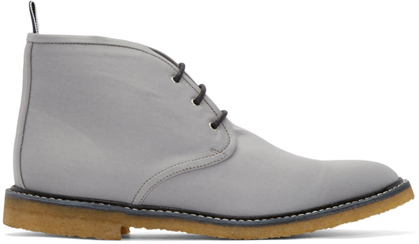 Thom Browne Grey Canvas Desert Boots