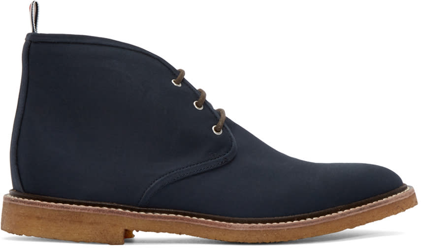 Thom Browne Navy Canvas Desert Boots