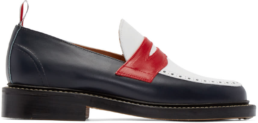 Thom Browne Tricolor Leather Penny Loafers
