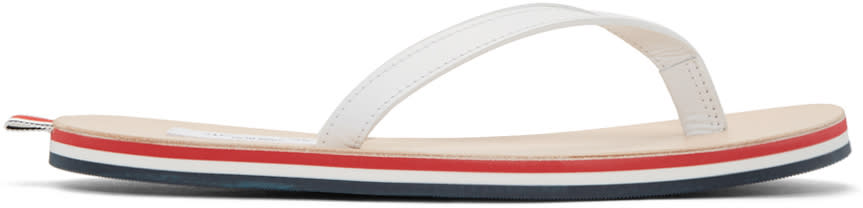 Thom Browne White and Tricolor Leather Sandals