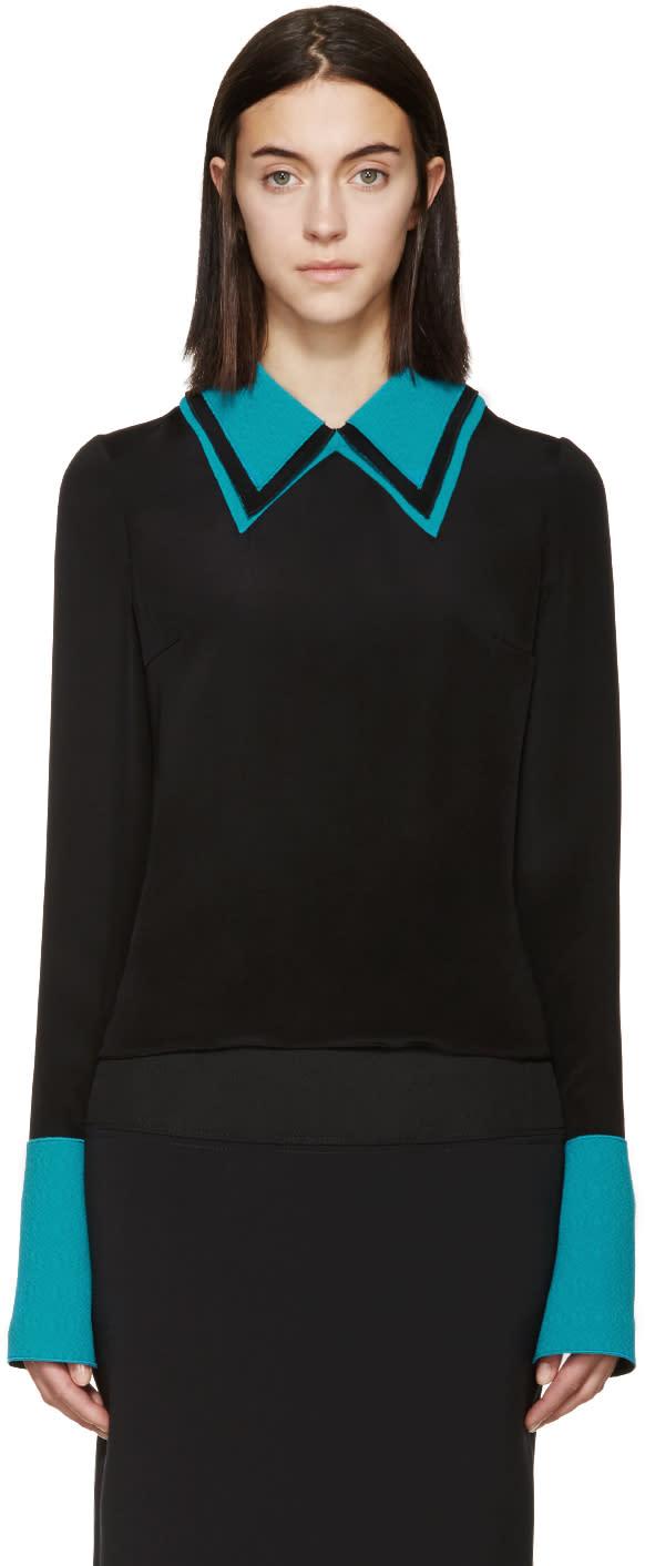 Roksanda Black and Turquoise Silk Cady Blouse