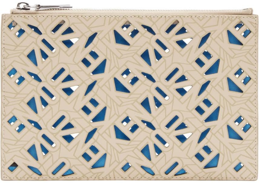 Kenzo Beige Leather Flying Tiger Pouch