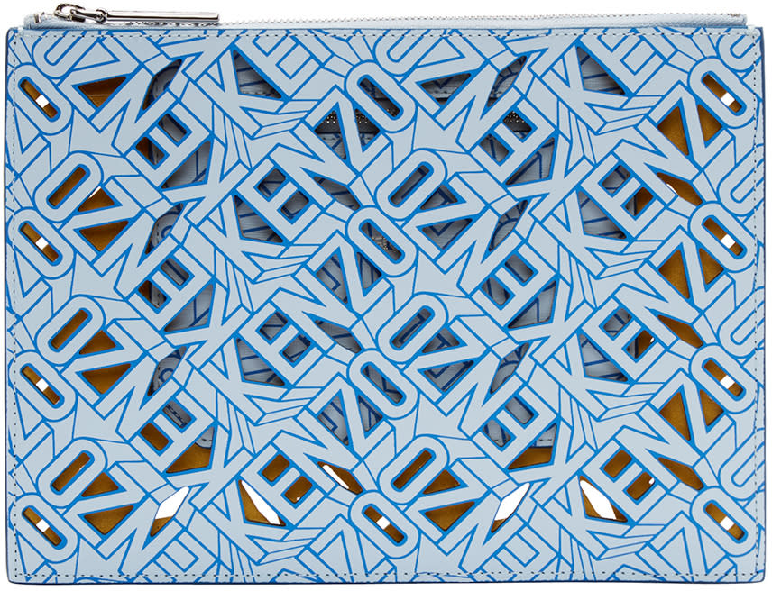 Kenzo Blue Leather Flying Tiger Kenzo Pouch
