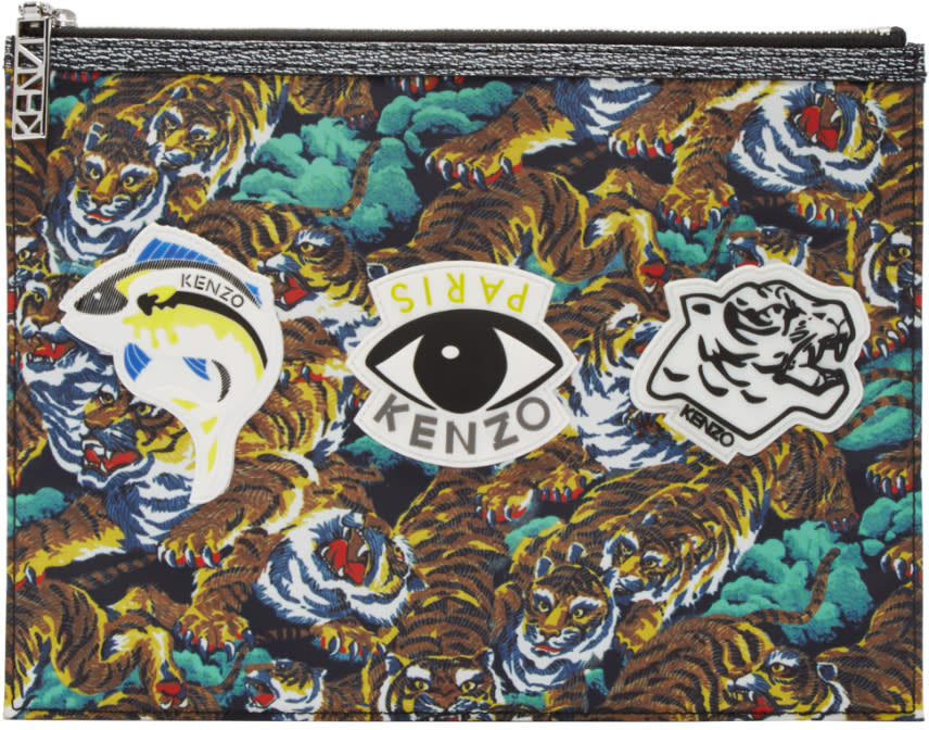 Kenzo Multicolor Nylon Flying Tiger Pouch