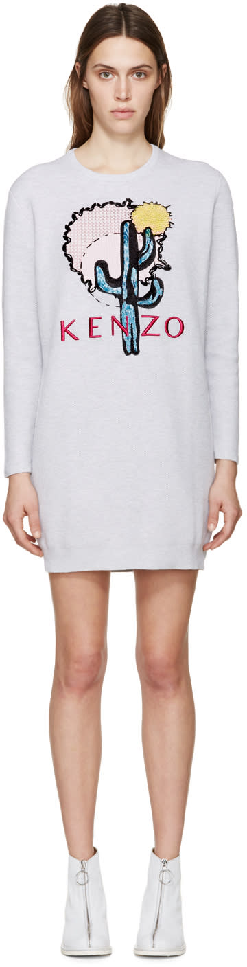 Kenzo Grey Cactus Embellished Dress