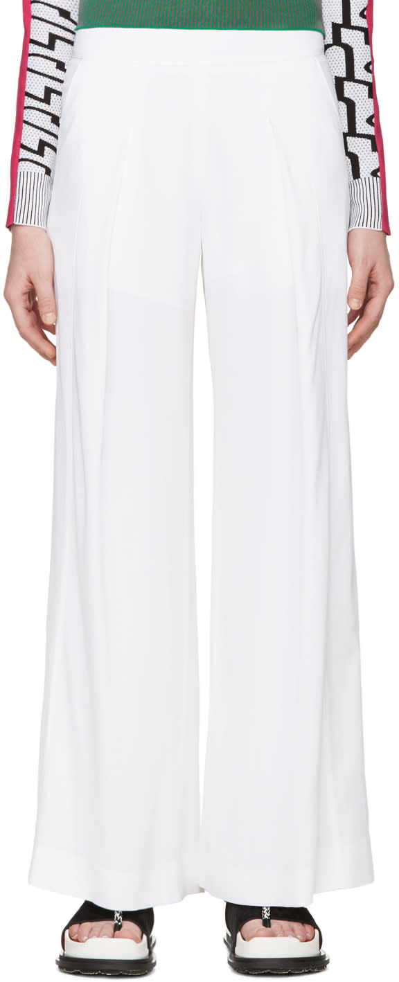 Kenzo White Wide-leg Flowing Trousers