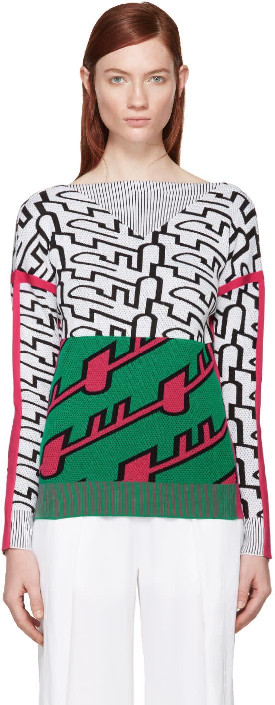 Kenzo Tricolor Jacquard Trompe Loeil Pullover