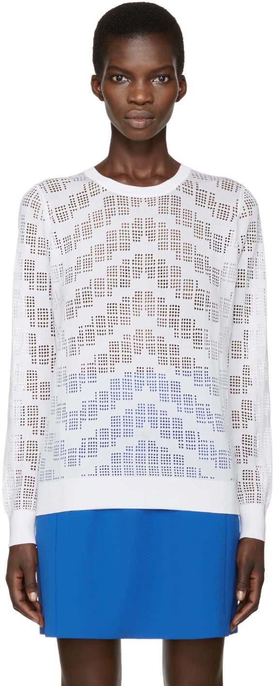 Kenzo White Knit Mesh Sweater