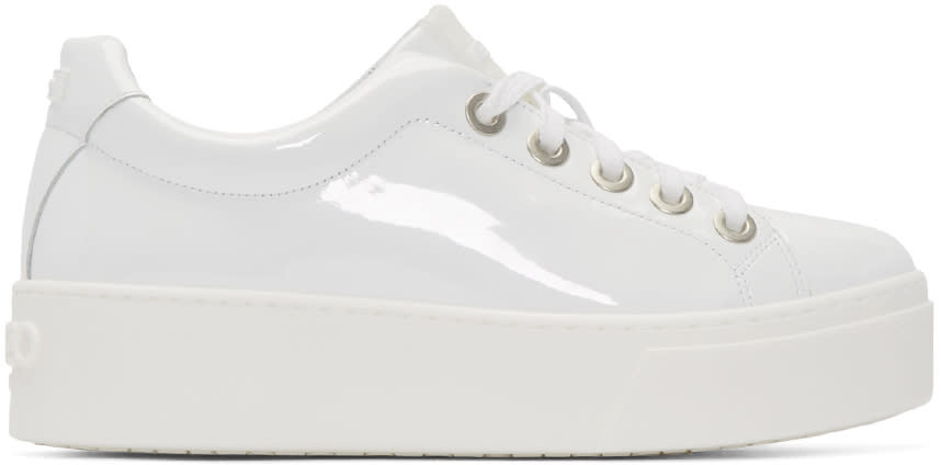 Kenzo White Patent Leather Sneakers