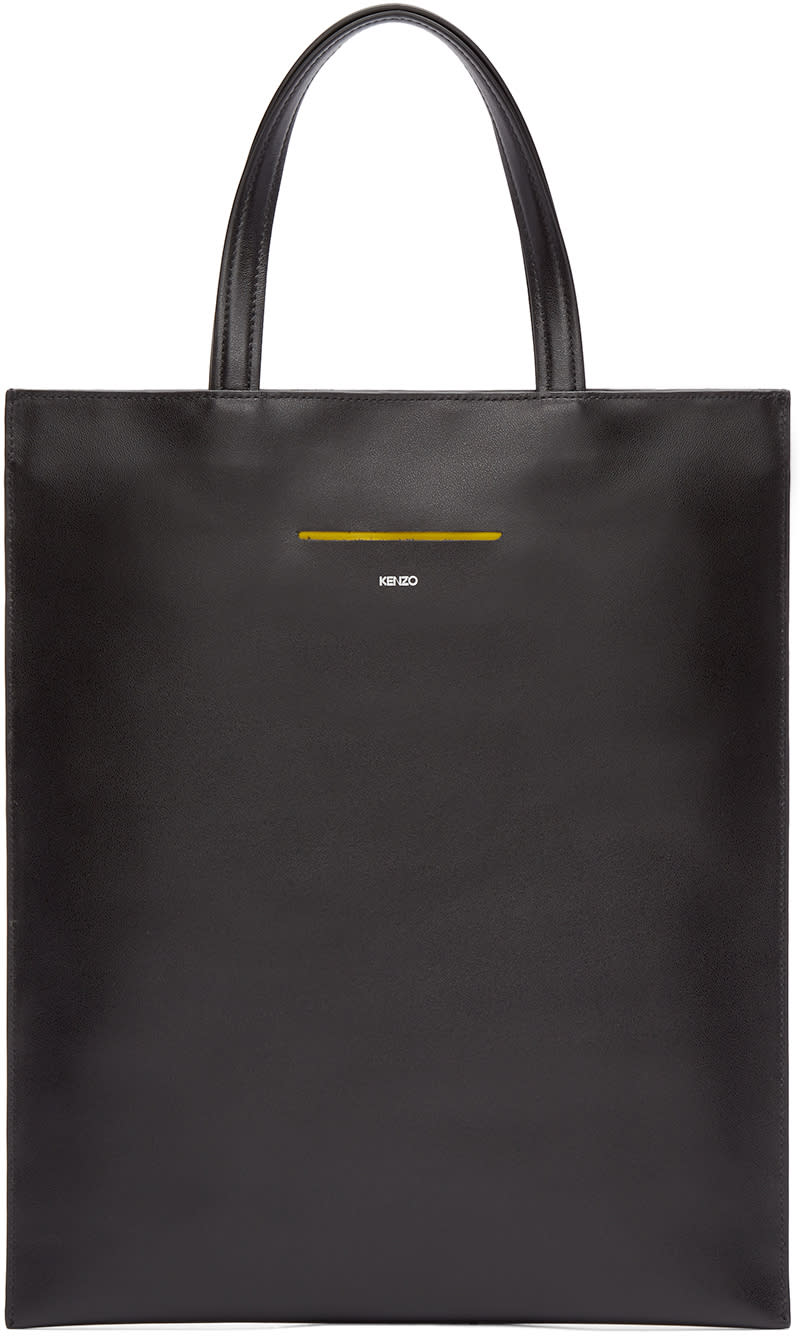 Kenzo Black Slim Leather Tote