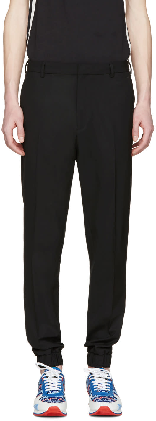Kenzo Black Wool Elasticized Trousers
