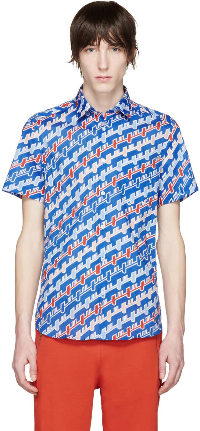 Kenzo Blue Diagonal Stripe Shirt