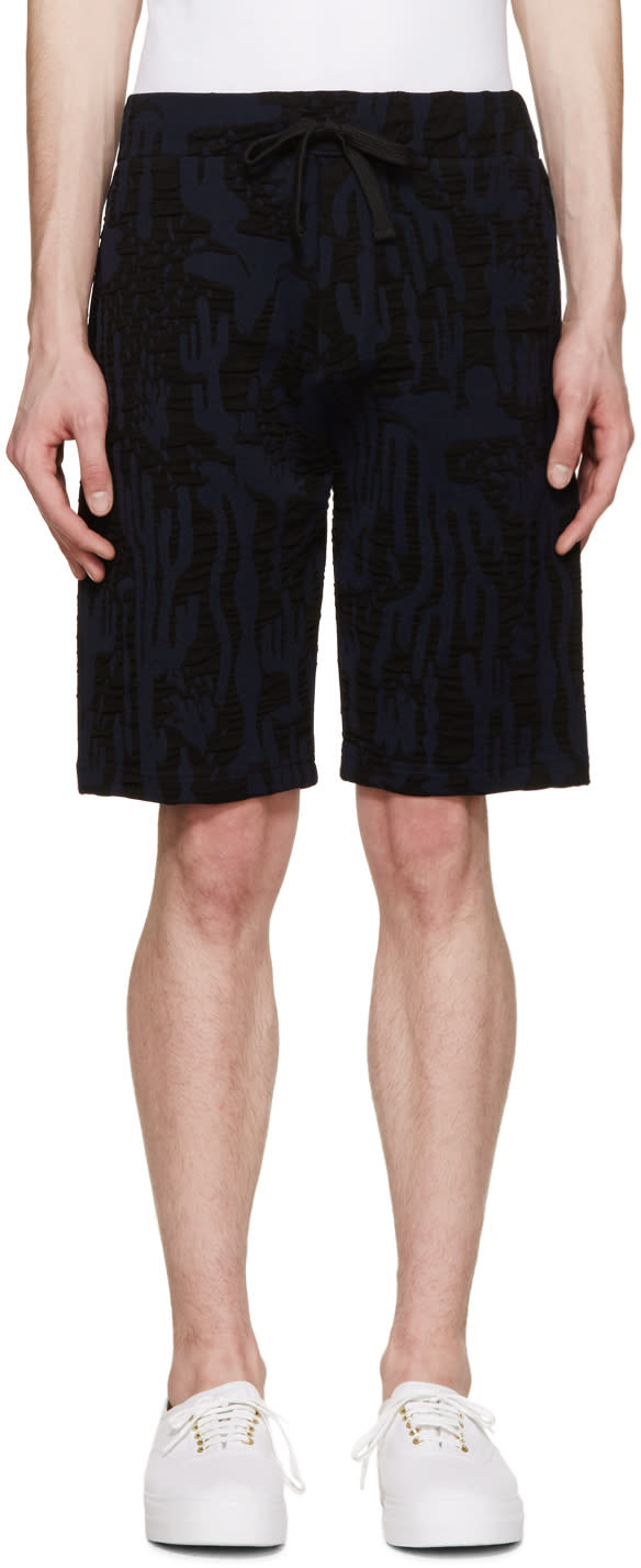 Kenzo Navy and Black Cactus Print Shorts