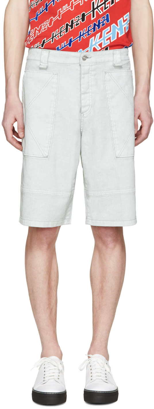 Kenzo Grey Coated Cargo Shorts