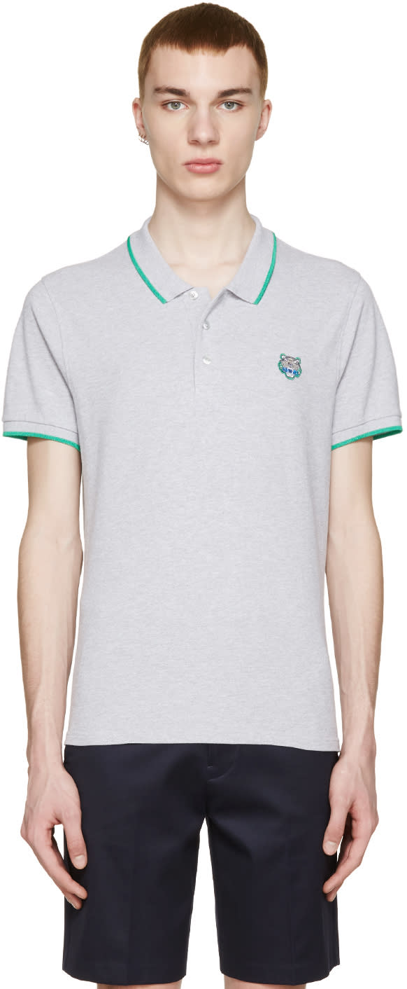 Kenzo Grey Tiger Applique Polo