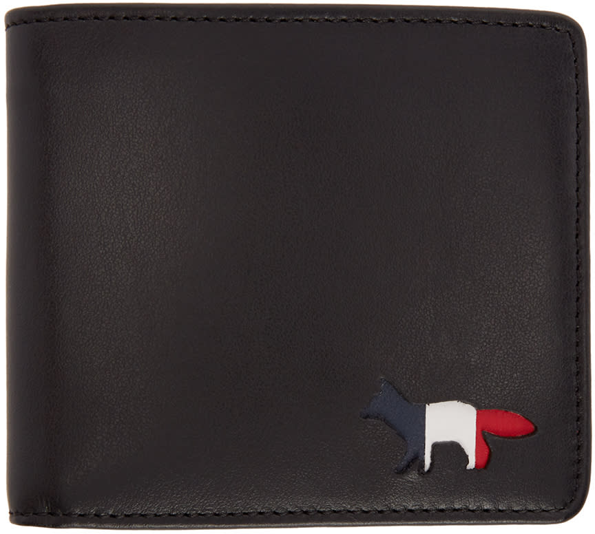 Maison Kitsuné Black Leather Fox Logo Wallet