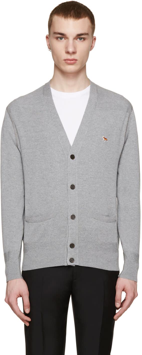 Maison Kitsuné Grey Merino Wool Cardigan