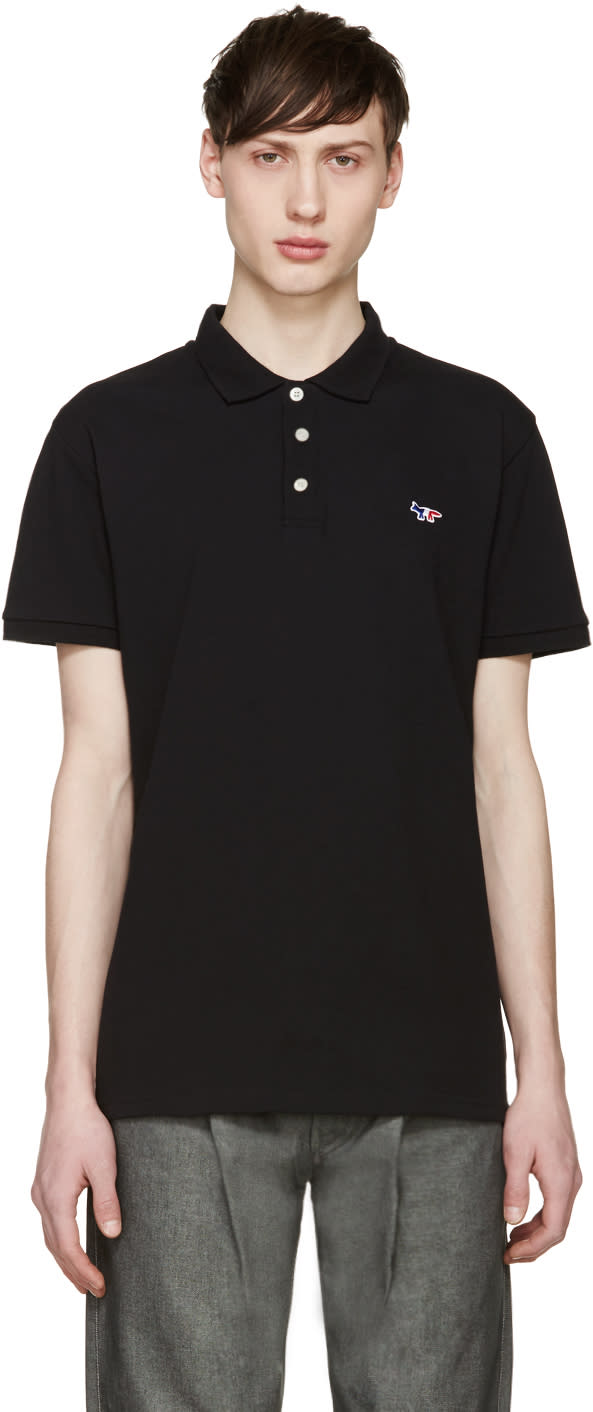 Maison Kitsuné Black Piqué Fox Polo