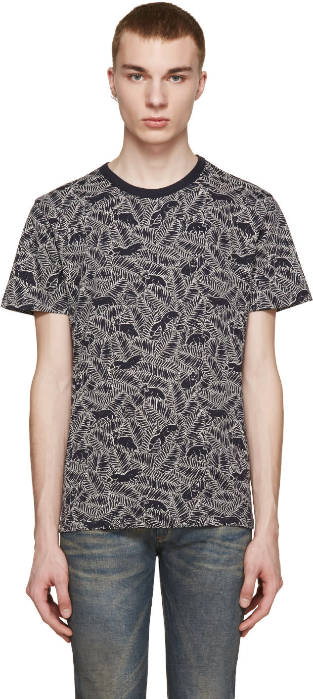 Maison Kitsuné Navy Fox and Fern Print T-shirt