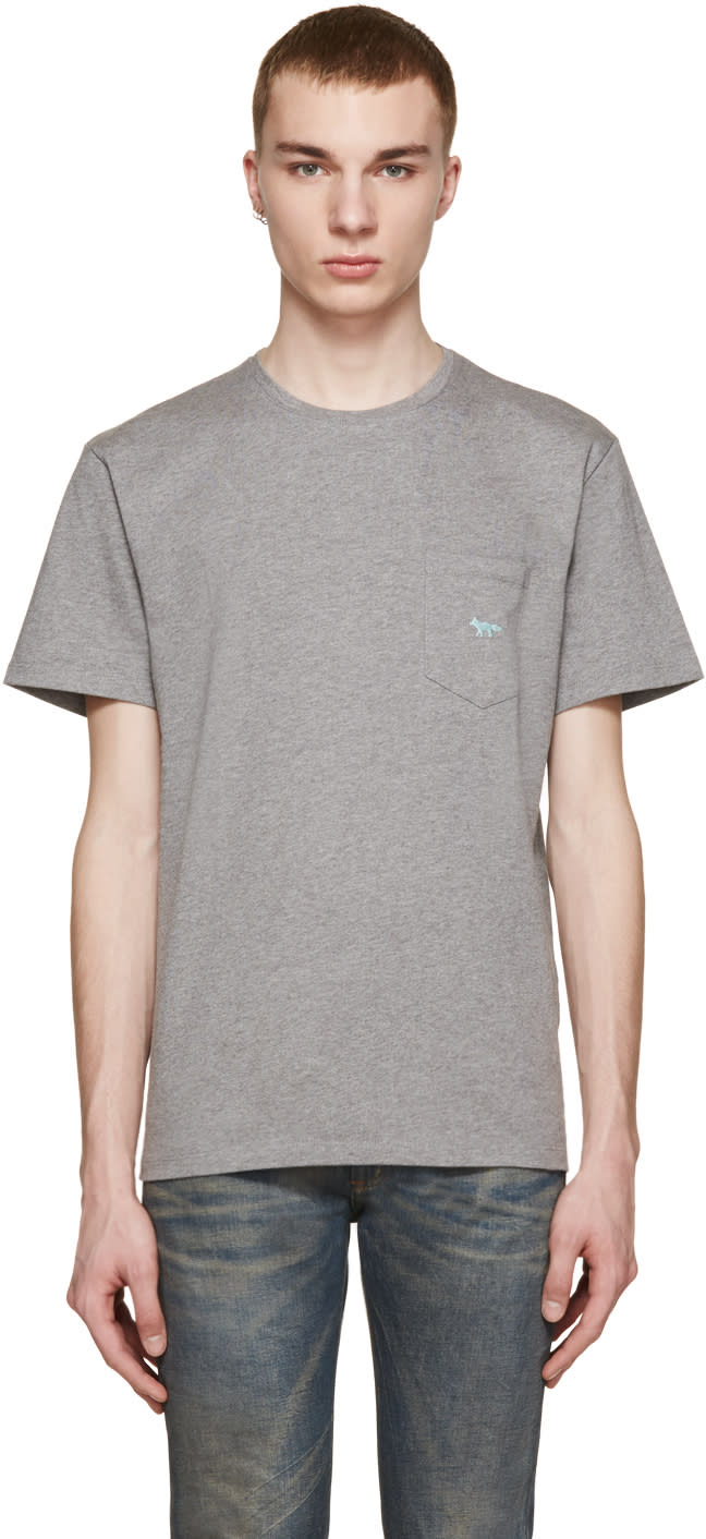Maison Kitsuné Grey Embroidered Pocket T-shirt