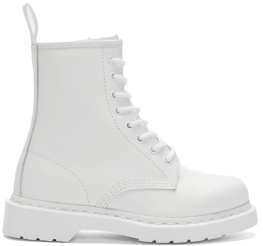Dr. Martens White Eight-eye 1460 Mono Boots
