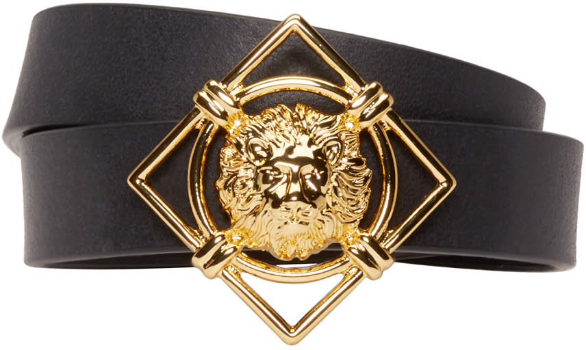 Versus Black and Gold Leather Lion Medallion Bracelet