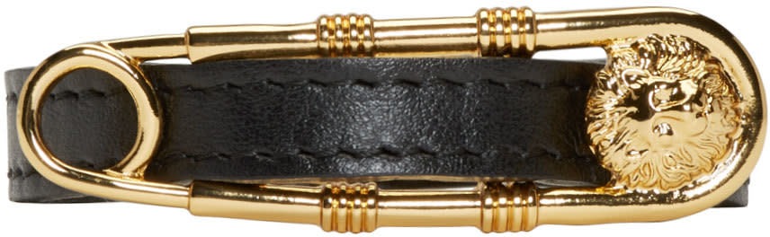 Versus Black and Gold Safety Pin Bracelet