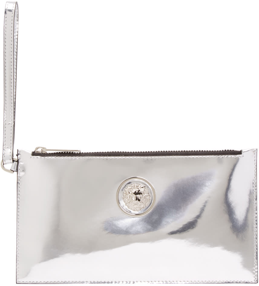 Versus Silver Leather Zip Pouch