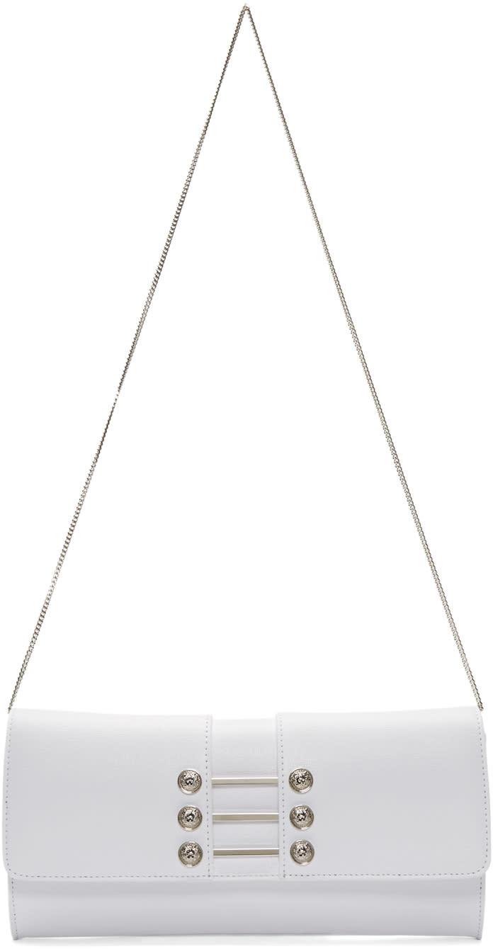 Versus White Leather Piercing Shoulder Bag