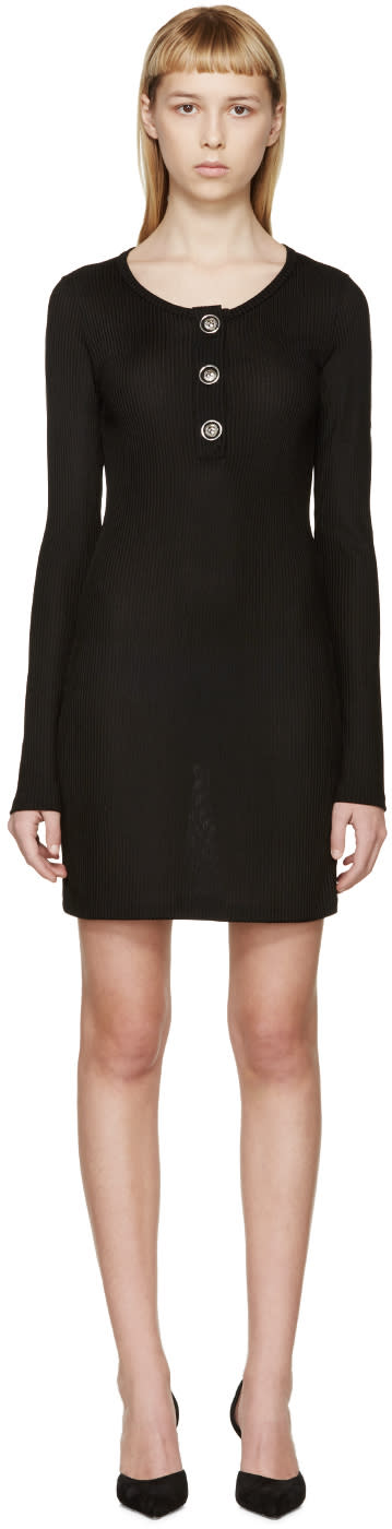 Versus Black Rib Knit Henley Dress