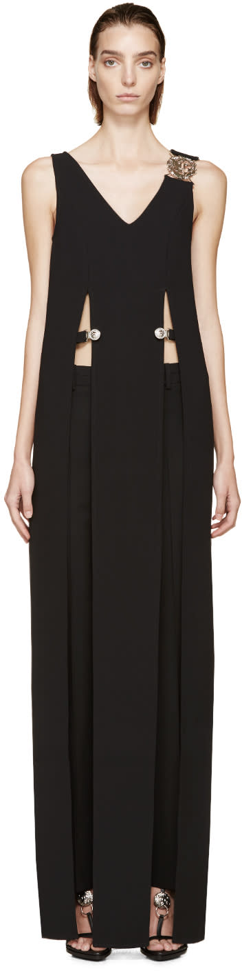 Versus Black Crepe Anthony Vaccarello Edition Slit Dress