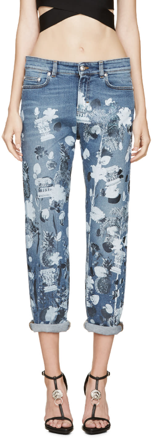 Versus Blue Graphic Print Anthony Vaccarello Edition Jeans