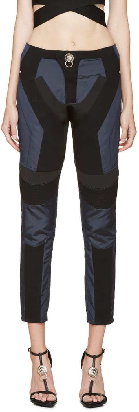 Versus Blue and Black Multi-fabric Anthony Vaccarello Edition Trousers