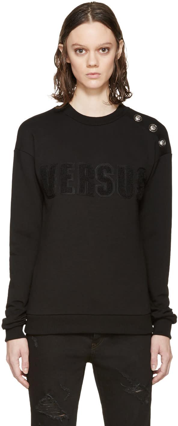 Versus Black Buttoned Logo Sweatshirt