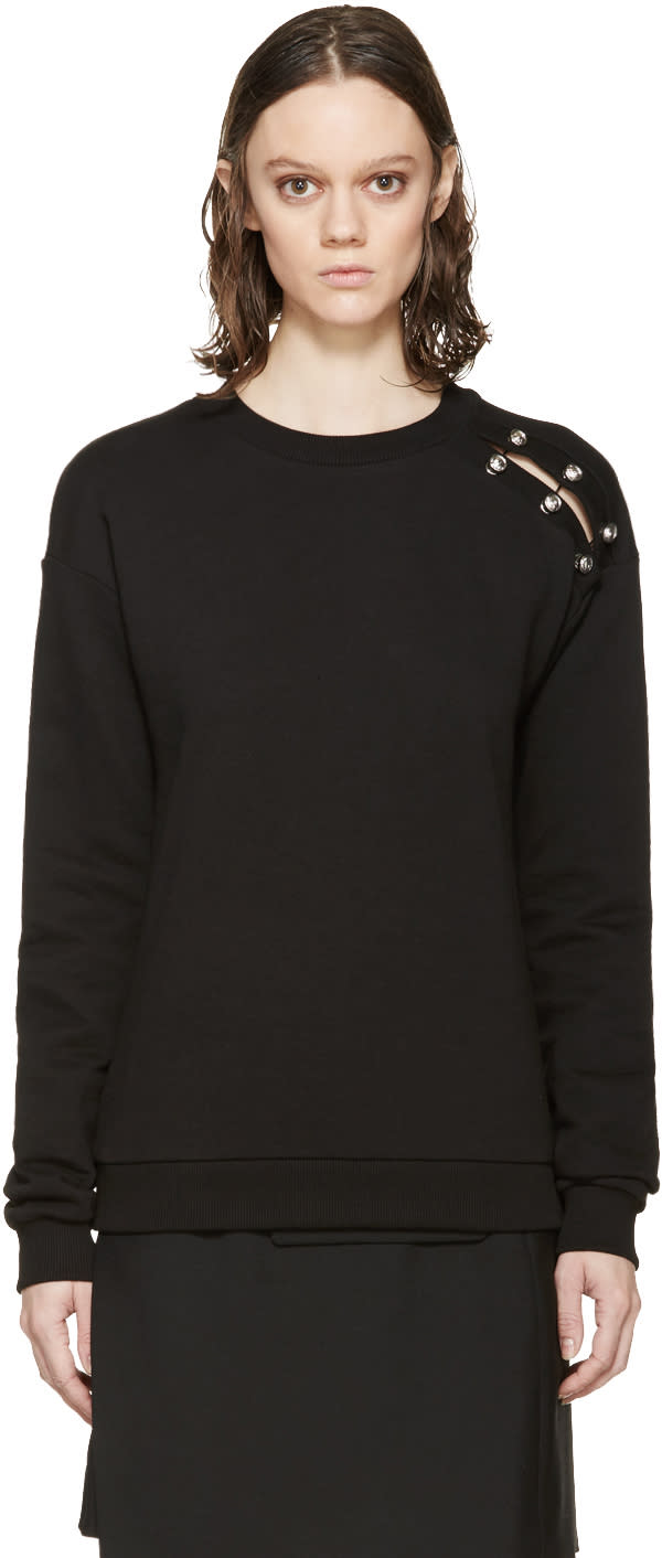 Versus Black Cut-out Safety Pin Sweatshirt