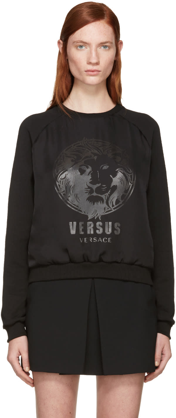 Versus Black Chiffon Overlay Logo Sweatshirt