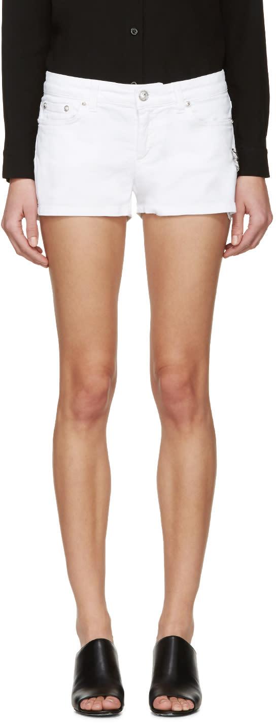 Versus White Denim Safety Pin Shorts