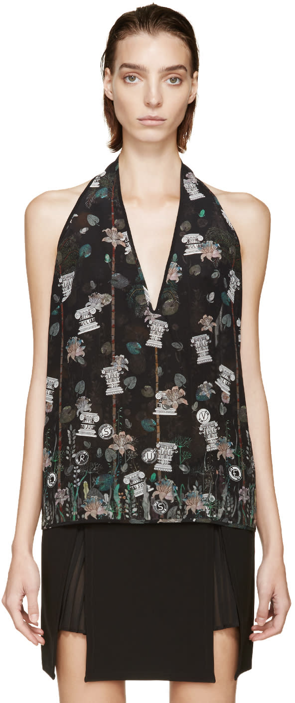 Versus Black Patterned Anthony Vaccarello Edition Halter Top