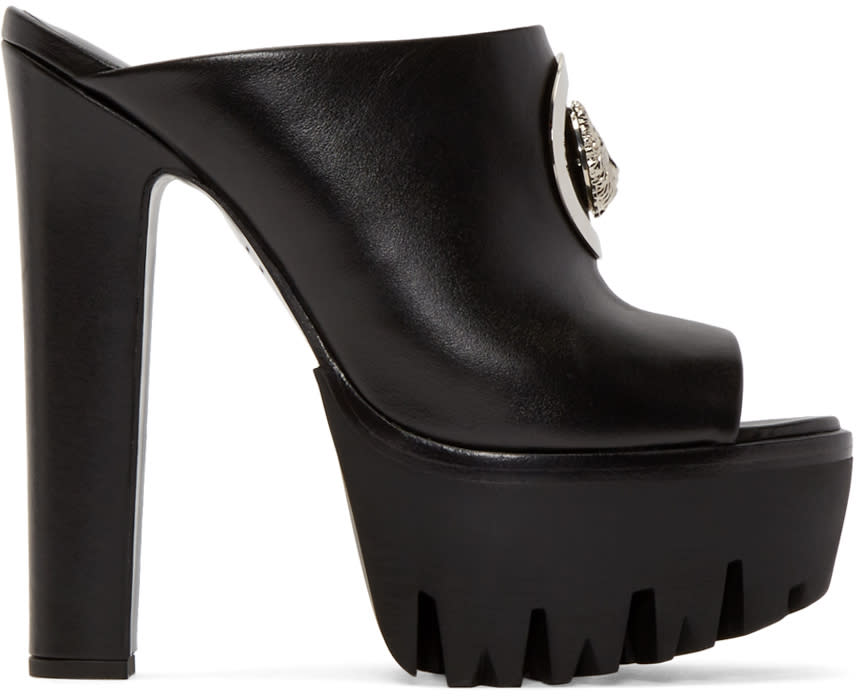 Versus Black Leather Platform Mules