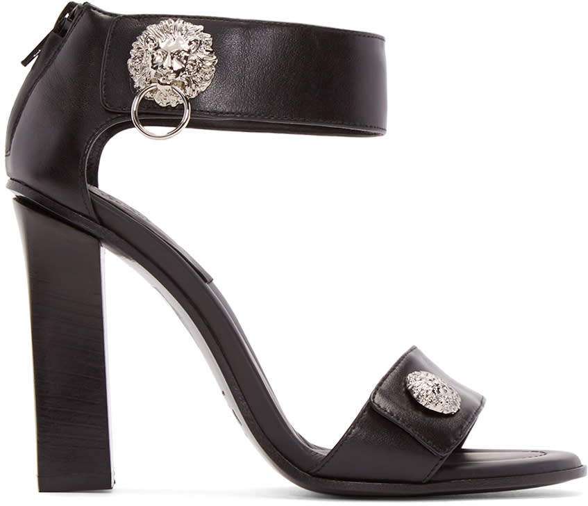 Versus Black Leather Lion Sandals