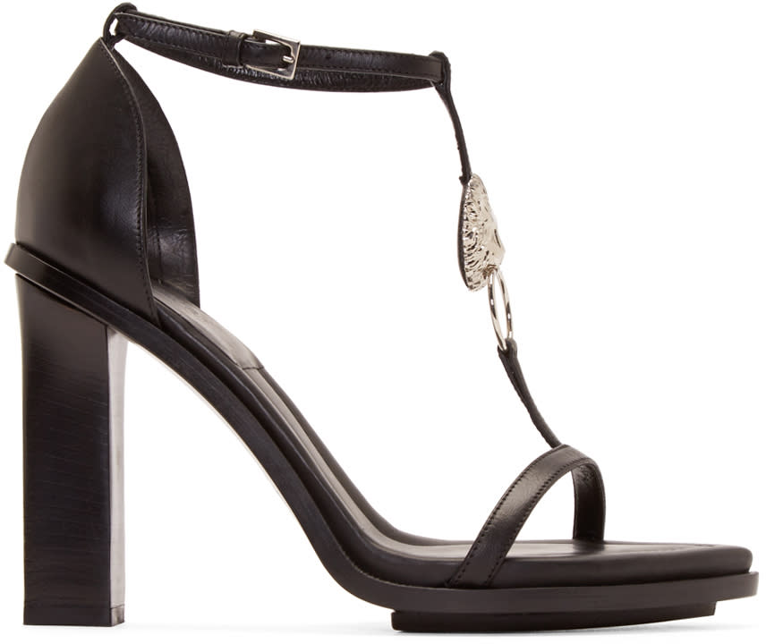 Versus Black Lion Head Anthony Vaccarello Edition Heeled Sandals