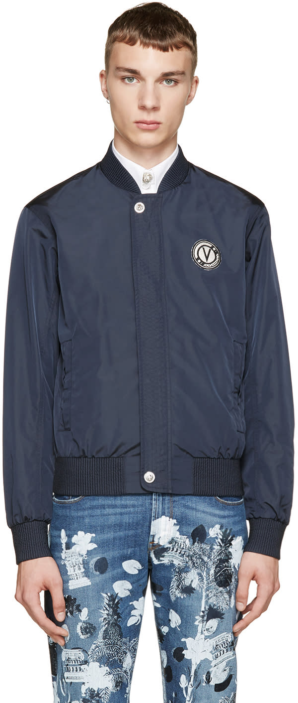 Versus Navy Nylon Anthony Vaccarello Edition Bomber Jacket