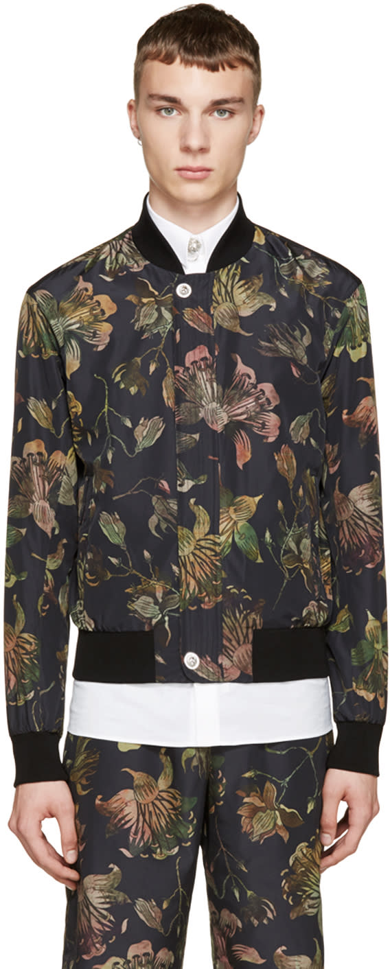 Versus Multicolor Floral Print Anthony Vaccarello Edition Bomber Jacket