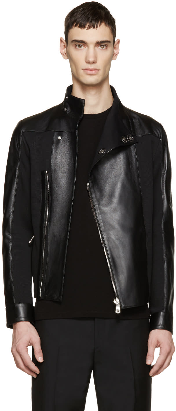 Versus Black Leather Panelled Jacket