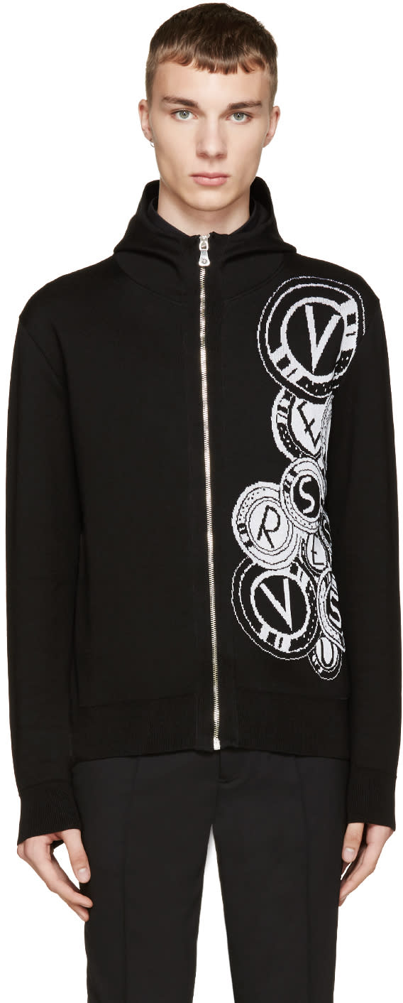 Versus Black Knit Logo Anthony Vaccarello Edition Hoodie
