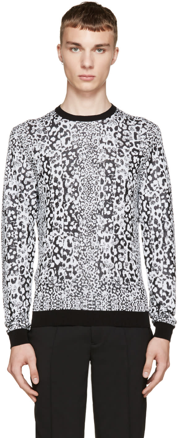 Versus Black and White Patterned Anthony Vaccarello Edition Sweater