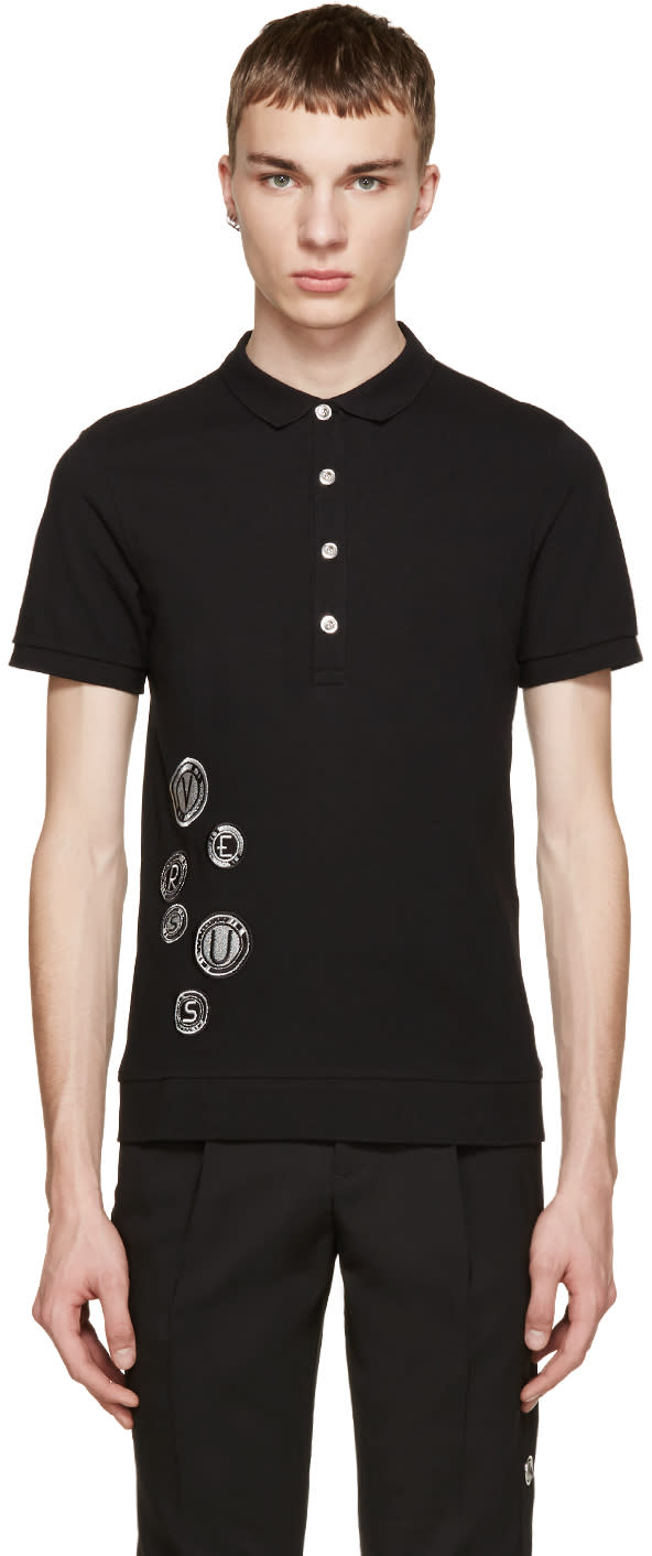 Versus Black Embroidered Patch Polo
