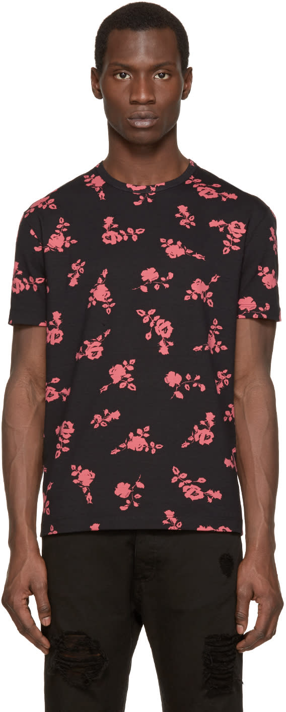 Versus Black and Pink Floral T-shirt